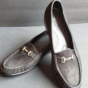 SAS Black Leather Suede Loafer Horse Bit Hardware